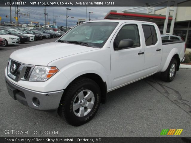 avalanche white 2009 nissan frontier se crew cab 4x4 steel interior vehicle. Black Bedroom Furniture Sets. Home Design Ideas