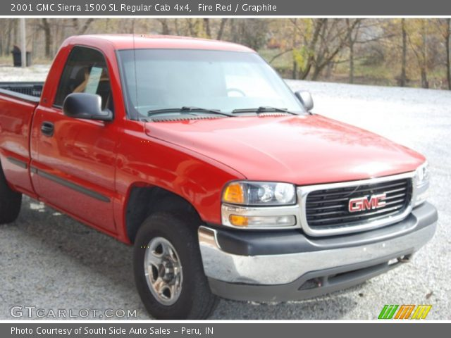 fire red 2001 gmc sierra 1500 sl regular cab 4x4 graphite interior vehicle. Black Bedroom Furniture Sets. Home Design Ideas