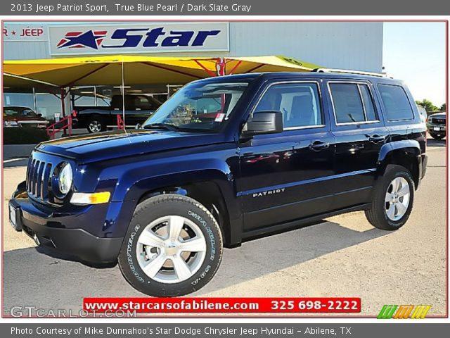 true blue pearl 2013 jeep patriot sport dark slate gray interior vehicle. Black Bedroom Furniture Sets. Home Design Ideas