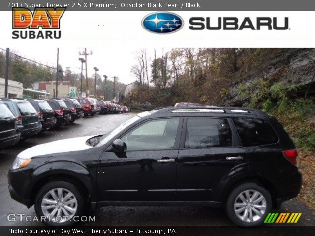 obsidian black pearl 2013 subaru forester 2 5 x premium black interior. Black Bedroom Furniture Sets. Home Design Ideas