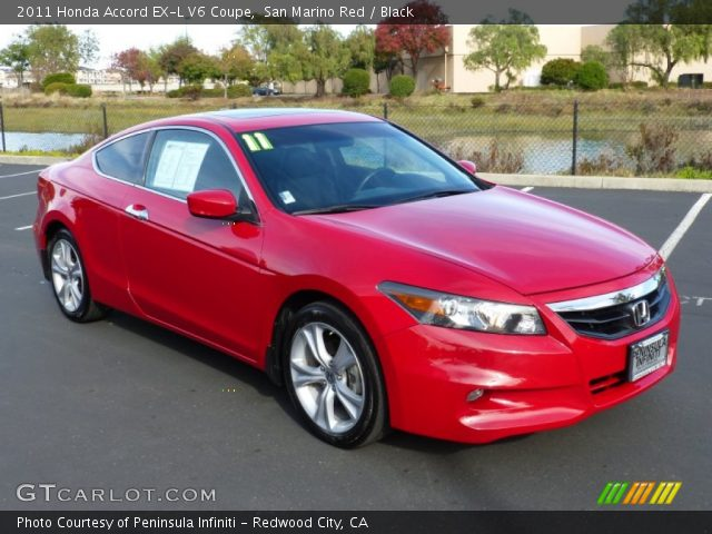 san marino red 2011 honda accord ex l v6 coupe black interior vehicle. Black Bedroom Furniture Sets. Home Design Ideas