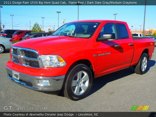 flame red 2011 dodge ram 1500 big horn quad cab dark slate gray medium graystone interior. Black Bedroom Furniture Sets. Home Design Ideas