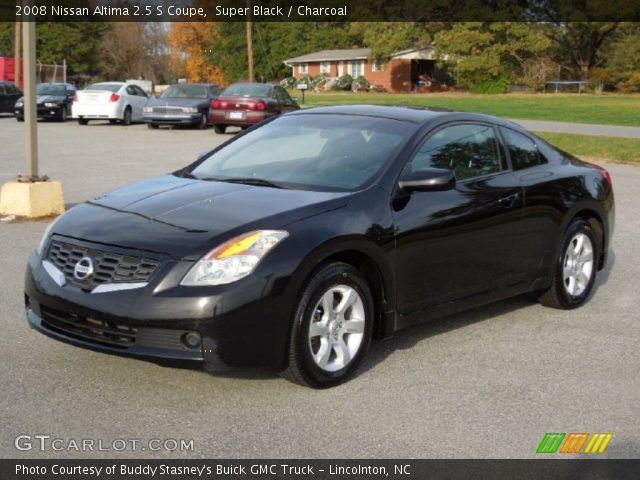 super black 2008 nissan altima 2 5 s coupe charcoal interior vehicle. Black Bedroom Furniture Sets. Home Design Ideas