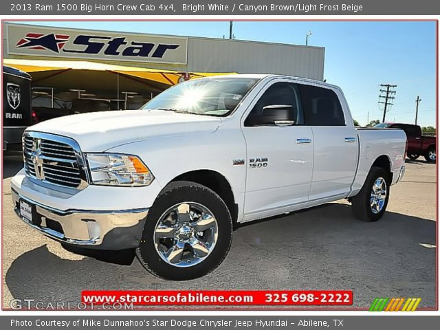 bright white 2013 ram 1500 big horn crew cab 4x4 canyon brown light frost beige interior. Black Bedroom Furniture Sets. Home Design Ideas