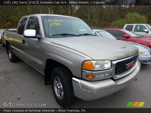 pewter metallic 2001 gmc sierra 1500 sl extended cab 4x4 graphite interior. Black Bedroom Furniture Sets. Home Design Ideas