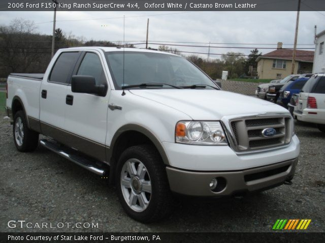 oxford white 2006 ford f150 king ranch supercrew 4x4 castano brown leather interior. Black Bedroom Furniture Sets. Home Design Ideas