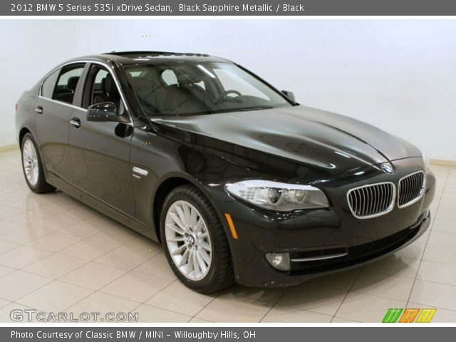 black sapphire metallic 2012 bmw 5 series 535i xdrive sedan black interior. Black Bedroom Furniture Sets. Home Design Ideas