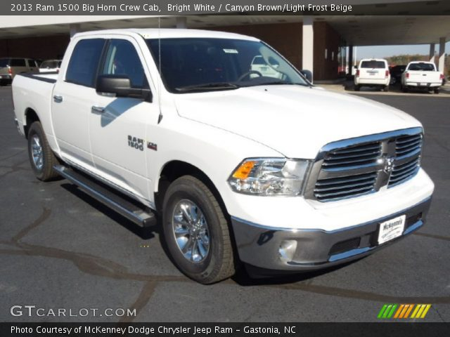 bright white 2013 ram 1500 big horn crew cab canyon brown light frost beige interior. Black Bedroom Furniture Sets. Home Design Ideas