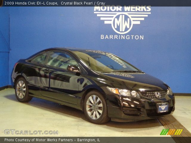 crystal black pearl 2009 honda civic ex l coupe gray interior vehicle. Black Bedroom Furniture Sets. Home Design Ideas