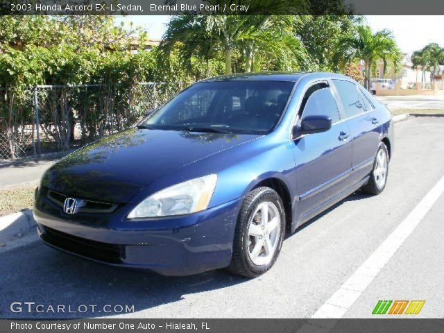 eternal blue pearl 2003 honda accord ex l sedan gray interior vehicle. Black Bedroom Furniture Sets. Home Design Ideas