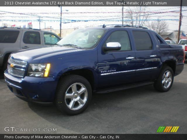 blue topaz metallic 2013 chevrolet avalanche ltz 4x4 black diamond edition light titanium. Black Bedroom Furniture Sets. Home Design Ideas