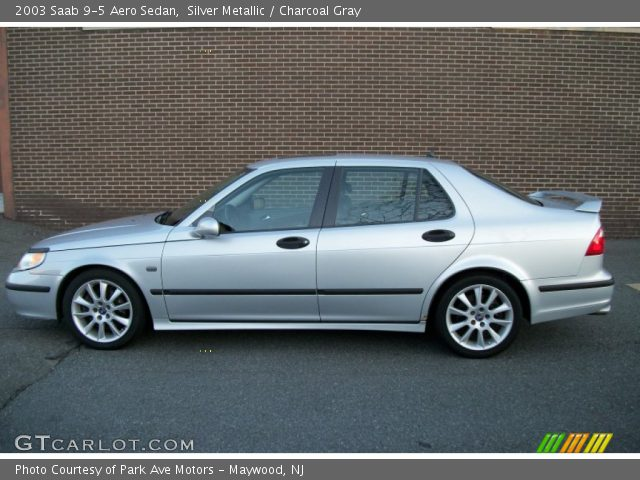 Silver Metallic 2003 Saab 9 5 Aero Sedan Charcoal Gray Interior