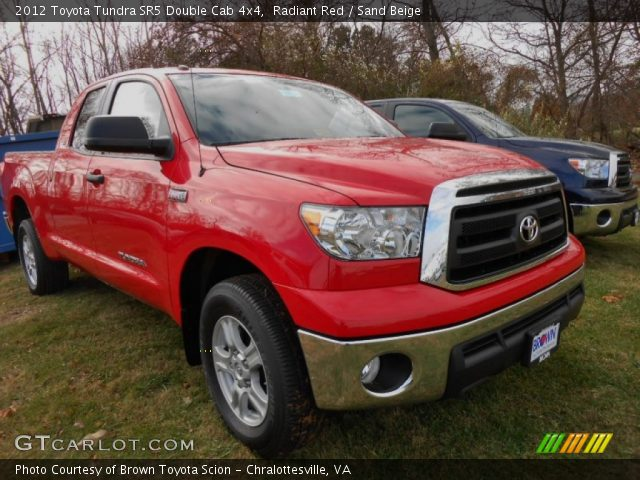 radiant red 2012 toyota tundra sr5 double cab 4x4 sand beige interior. Black Bedroom Furniture Sets. Home Design Ideas