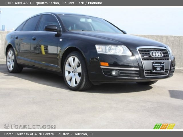 brilliant black 2007 audi a6 3 2 quattro sedan platinum interior vehicle. Black Bedroom Furniture Sets. Home Design Ideas