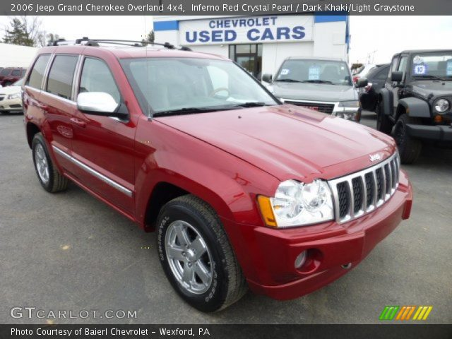 inferno red crystal pearl 2006 jeep grand cherokee overland 4x4 dark khaki light graystone. Black Bedroom Furniture Sets. Home Design Ideas