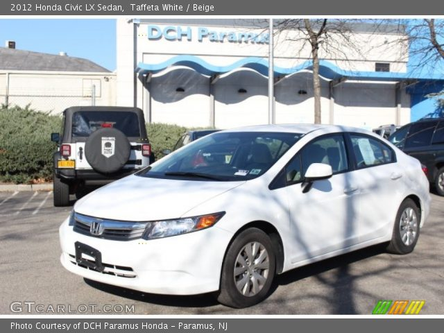 Taffeta white 2012 honda civic lx sedan beige interior for 2012 honda civic white