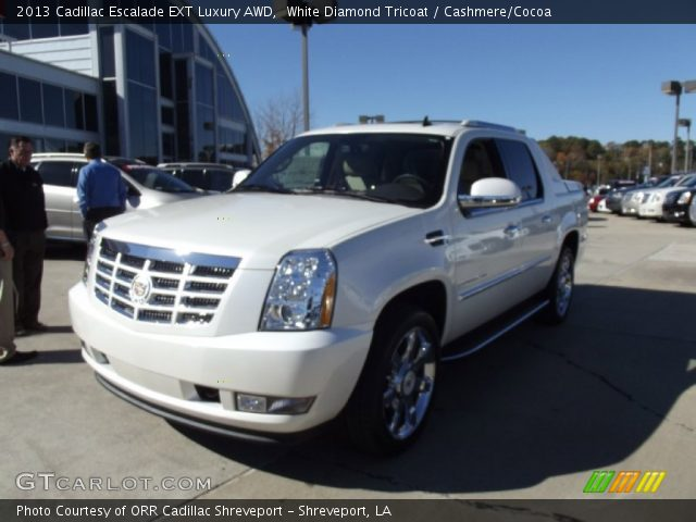 white diamond tricoat 2013 cadillac escalade ext luxury awd cashmere cocoa interior. Black Bedroom Furniture Sets. Home Design Ideas