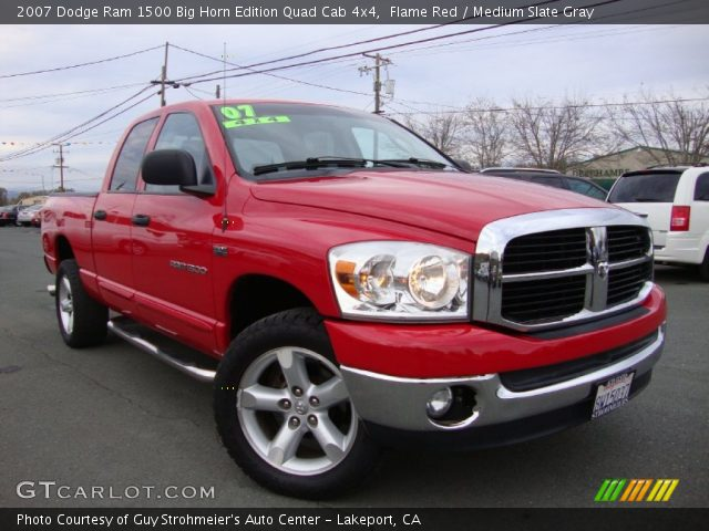 flame red 2007 dodge ram 1500 big horn edition quad cab 4x4 medium slate gray interior. Black Bedroom Furniture Sets. Home Design Ideas