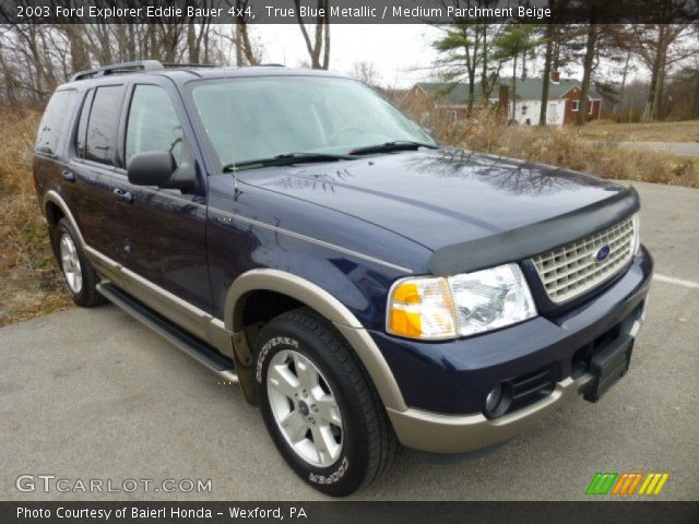 true blue metallic 2003 ford explorer eddie bauer 4x4 medium parchment beige interior. Black Bedroom Furniture Sets. Home Design Ideas