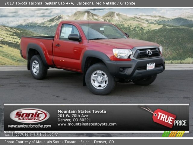 barcelona red metallic 2013 toyota tacoma regular cab 4x4 graphite interior. Black Bedroom Furniture Sets. Home Design Ideas