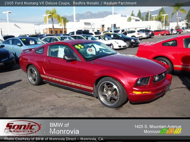 redfire metallic 2005 ford mustang v6 deluxe coupe medium parchment interior. Black Bedroom Furniture Sets. Home Design Ideas