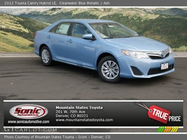 clearwater blue metallic 2012 toyota camry hybrid le ash interior vehicle. Black Bedroom Furniture Sets. Home Design Ideas