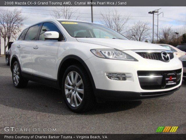 crystal white pearl mica 2008 mazda cx 9 grand touring awd sand interior. Black Bedroom Furniture Sets. Home Design Ideas