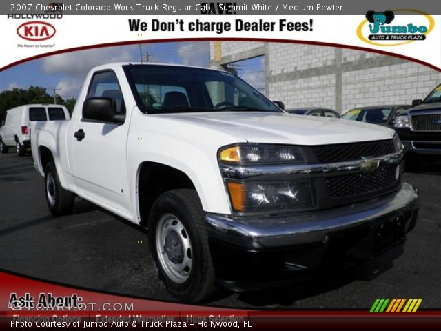 summit white 2007 chevrolet colorado work truck regular cab medium pewter interior. Black Bedroom Furniture Sets. Home Design Ideas