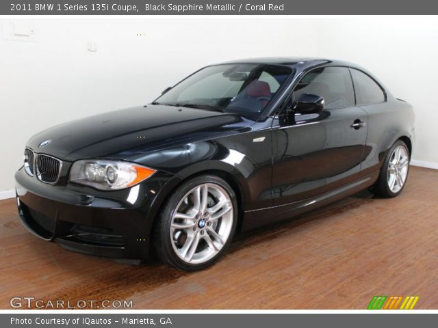Black sapphire metallic 2011 bmw 1 series 135i coupe coral red interior - Black bmw 1 series coupe ...