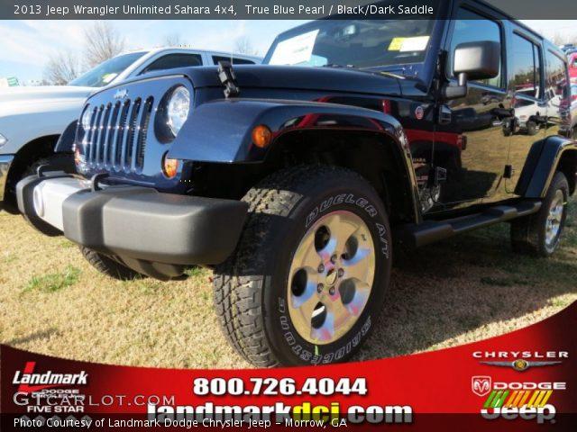 True Blue Pearl 2013 Jeep Wrangler Unlimited Sahara 4x4 Black Dark Saddle Interior