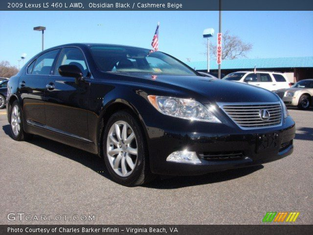 obsidian black 2009 lexus ls 460 l awd cashmere beige. Black Bedroom Furniture Sets. Home Design Ideas