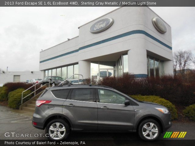 sterling gray metallic 2013 ford escape se 1 6l ecoboost 4wd medium light stone interior. Black Bedroom Furniture Sets. Home Design Ideas