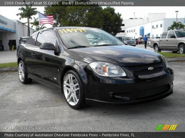 black 2009 chevrolet cobalt ss coupe ebony ebony ultralux red pipping interior gtcarlot. Black Bedroom Furniture Sets. Home Design Ideas