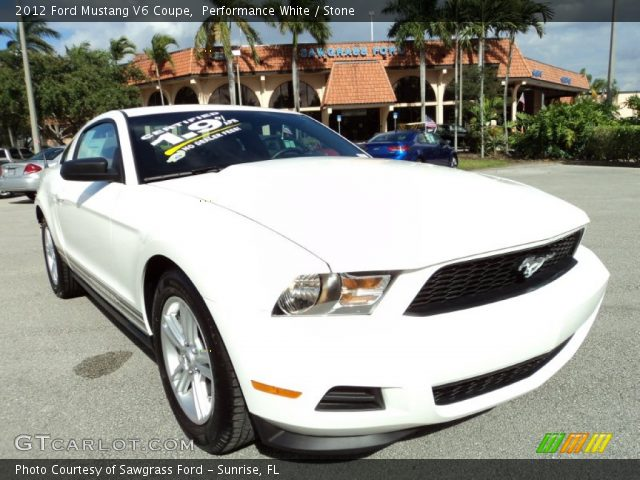 performance white 2012 ford mustang v6 coupe stone interior vehicle archive. Black Bedroom Furniture Sets. Home Design Ideas