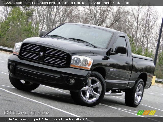 brilliant black crystal pearl 2006 dodge ram 1500 sport regular cab khaki beige interior. Black Bedroom Furniture Sets. Home Design Ideas