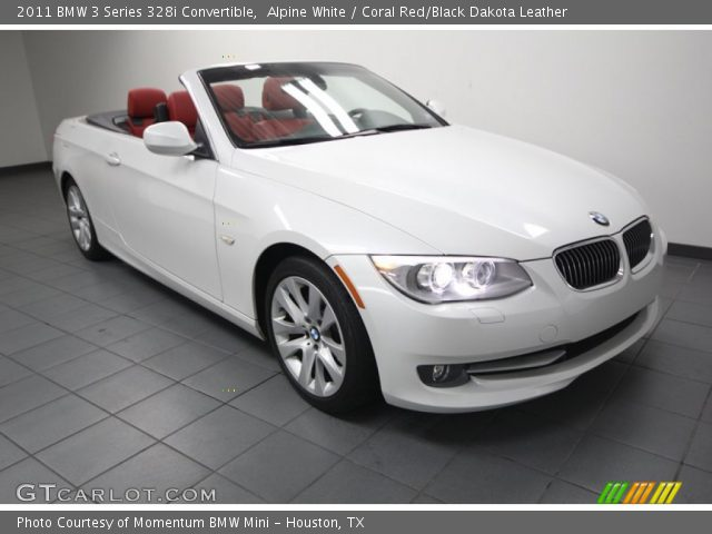 Alpine White 2011 Bmw 3 Series 328i Convertible Coral Red Black Dakota Leather Interior