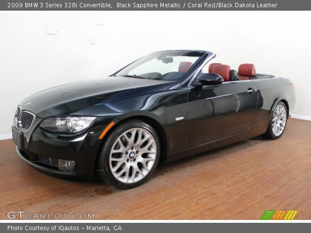 black sapphire metallic 2009 bmw 3 series 328i convertible coral red black dakota leather. Black Bedroom Furniture Sets. Home Design Ideas