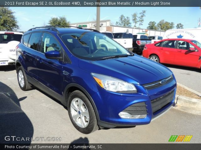 deep impact blue metallic 2013 ford escape se 2 0l ecoboost 4wd medium light stone interior. Black Bedroom Furniture Sets. Home Design Ideas