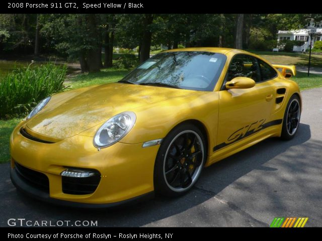 speed yellow 2008 porsche 911 gt2 black interior vehicle archive 751706. Black Bedroom Furniture Sets. Home Design Ideas