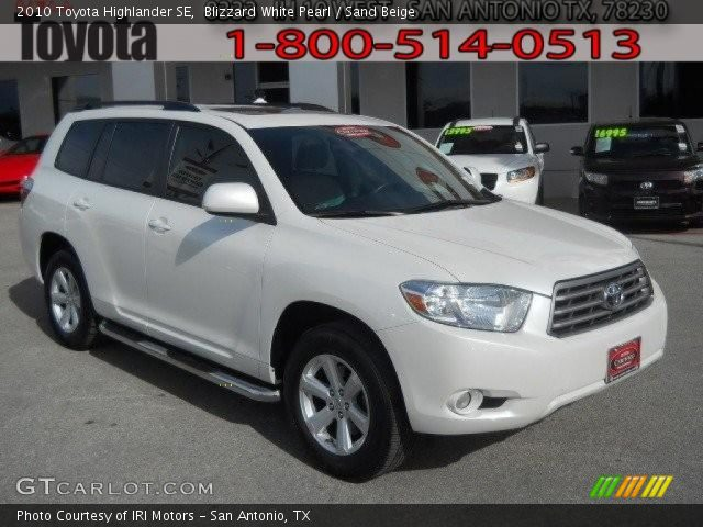 blizzard white pearl 2010 toyota highlander se sand. Black Bedroom Furniture Sets. Home Design Ideas
