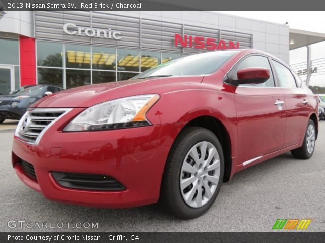 red brick 2013 nissan sentra sv charcoal interior vehicle archive 75612129. Black Bedroom Furniture Sets. Home Design Ideas
