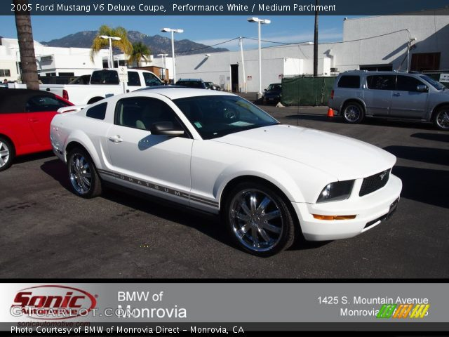 performance white 2005 ford mustang v6 deluxe coupe medium parchment interior. Black Bedroom Furniture Sets. Home Design Ideas