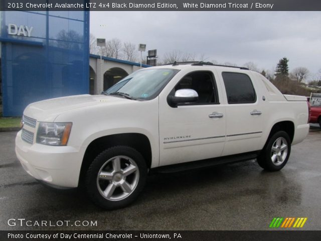 white diamond tricoat 2013 chevrolet avalanche ltz 4x4 black diamond edition ebony interior. Black Bedroom Furniture Sets. Home Design Ideas