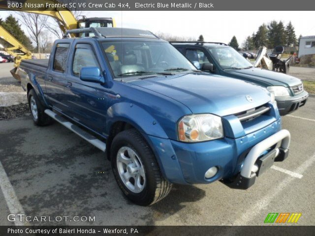 electric blue metallic 2003 nissan frontier sc v6 crew cab 4x4 black interior. Black Bedroom Furniture Sets. Home Design Ideas