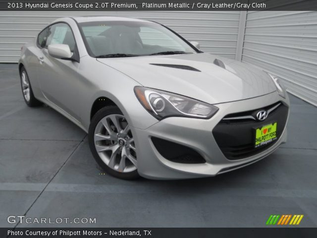 platinum metallic 2013 hyundai genesis coupe 2 0t premium gray leather gray cloth interior. Black Bedroom Furniture Sets. Home Design Ideas