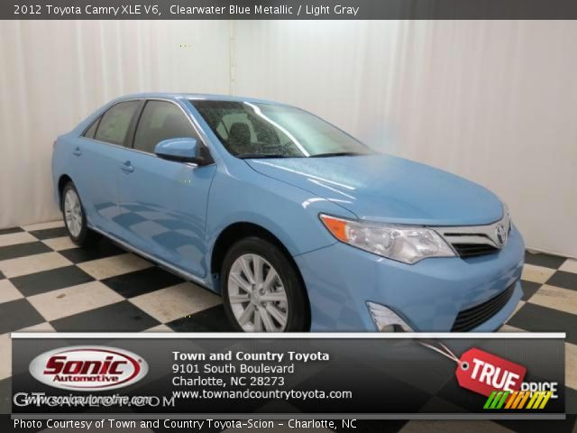 clearwater blue metallic 2012 toyota camry xle v6 light gray interior. Black Bedroom Furniture Sets. Home Design Ideas