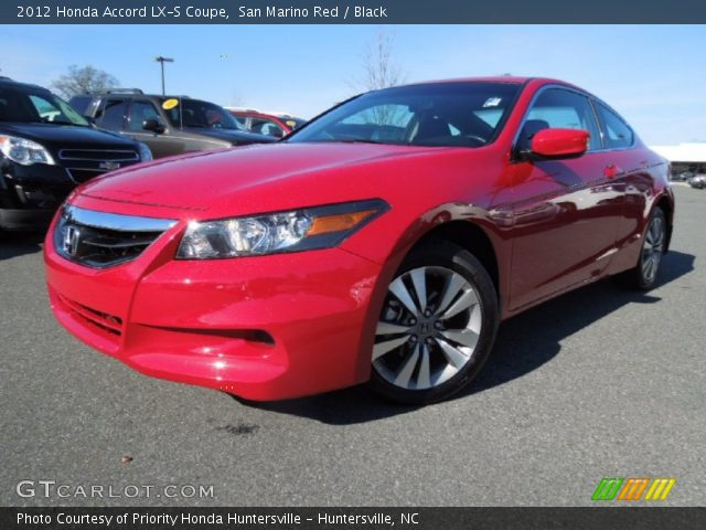 san marino red 2012 honda accord lx s coupe black interior vehicle archive. Black Bedroom Furniture Sets. Home Design Ideas