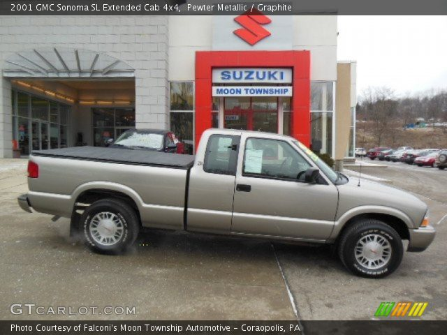 pewter metallic 2001 gmc sonoma sl extended cab 4x4 graphite interior. Black Bedroom Furniture Sets. Home Design Ideas