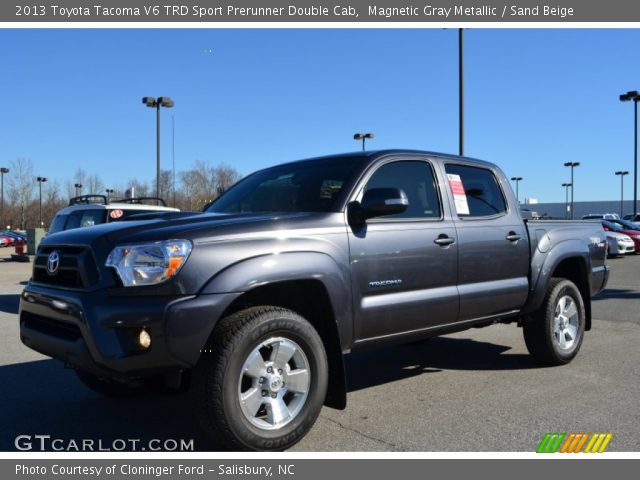 magnetic gray metallic 2013 toyota tacoma v6 trd sport prerunner double cab sand beige. Black Bedroom Furniture Sets. Home Design Ideas