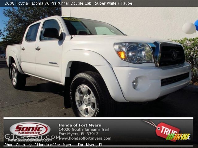 super white 2008 toyota tacoma v6 prerunner double cab taupe interior. Black Bedroom Furniture Sets. Home Design Ideas
